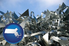 massachusetts map icon and scrap metal